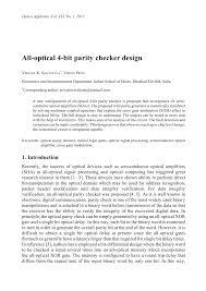 all optical 4 bit parity checker design