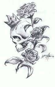 couple of skulls snake and rose tattoo design photos pictures