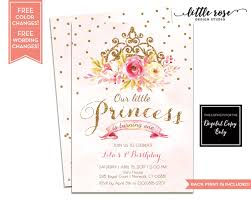 princess first birthday party invitations free printable