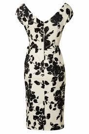 hourglass cream and black rose vintage pencil dress