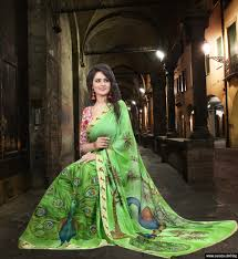 pista green color pattern printed pista green nylon nazmeen chiffon saree