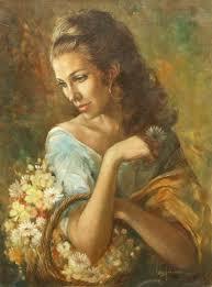 leo jansen leo jansen woman with a basket of flowers leo jansen