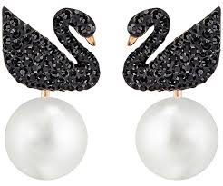 earing image iconic swan pierced earring jackets black gold plating