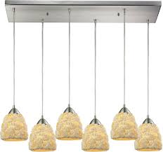 elk 10414 6rc shells modern satin nickel multi pendant light
