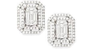 illusion earrings diamond lyst platinum heart emerald cut diamond illusion stud earrings