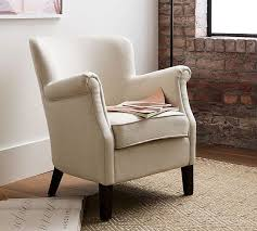 Upholstered Armchairs Living Room Soma Petite Minna Roll Arm Upholstered Armchair Pottery Barn