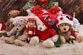 teddy decorations christmas teddy bears in santa claus with decorations
