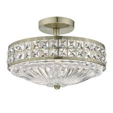 Brass Ceiling Lights Crystal Ceiling Light Antique Brass Slightly Vintage Style Semi Flush