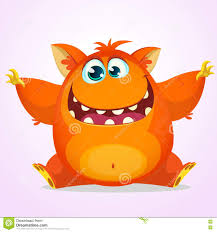 vector halloween cartoon of an orange fat and fluffy halloween