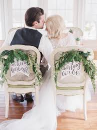 and groom chair signs wedding inspiration with a gold succulent