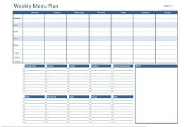 menu planners templates free excel weekly menu plan template dowload