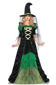 witch costumes for halloween long black u0026 green witch dress costume witch hat u0026 veil included