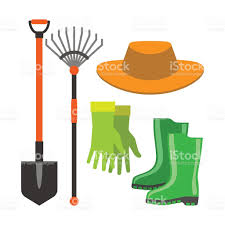 gardening shovel and rake groundworks tools vector stock vector