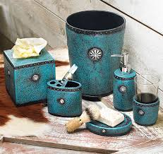 Aqua Colored Bathroom Accessories by Tooled Leather Bath Accessories