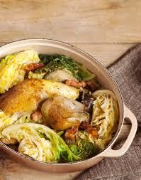 cuisiner du chou vert pintade aux lardons et au chou vert régal