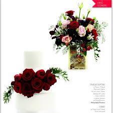 wedding flowers and accessories magazine table centrepiece by waterbaby flowers cake by bake bloom as