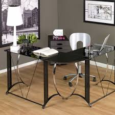 Home Office Glass Desks Office Glass Office Desk Ideas Using Black Glass L Shape Writing