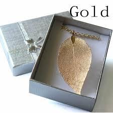real leaf necklace images Real natural leaf pendant necklace gold zambly jpg