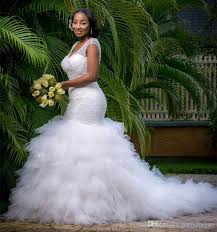 african style plus size mermaid wedding dresses sparkly beaded