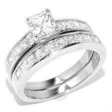 stainless steel wedding sets best selling princess cut stainless steel wedding ring set rs1102