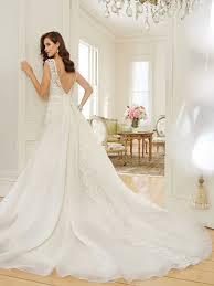 a line wedding dress with bateau neckline