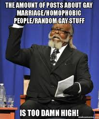 Too Gay Meme - the amount of posts about gay marriage homophobic people random gay