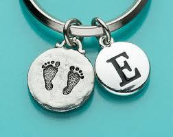 baby keychain footprint keychain etsy