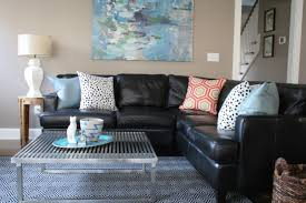 Decorating Ideas With Sectional Sofas Sunroom Black Leather Couches Decorating Ideas Decorating