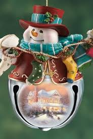 kinkade snow bell holidays snowman ornaments set of three