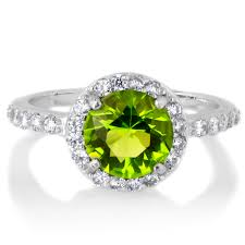 birthstone ring silvertone august green cz imitation birthstone ring