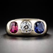three stone engagement rings gemmy diamond sapphire and ruby three stone ring