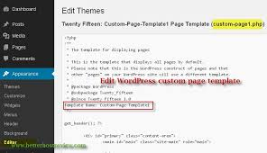 create wordpress custom page template