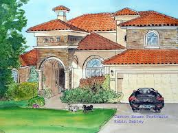 paintings of houses in watercolor and ink by me artist robin