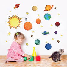 colorful solar system wall sticker stars space wall decals planets colorful solar system wall sticker stars space wall decals planets poster mural for kids rooms nursery baby children s bedroom in wall stickers from home