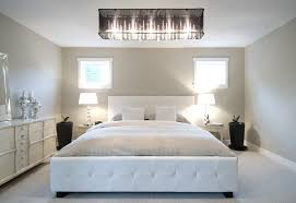 white tufted bed bedroom contemporary with brown curtains