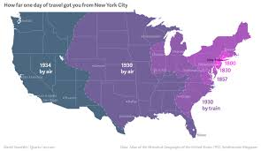 United States Travel Map by How Far From Nyc You Could Travel In One Day Between 1800 And 1934