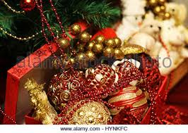 New Year Tree Decorations by Festive New Year U0027s Christmas Still Life With A Toy White Cat In