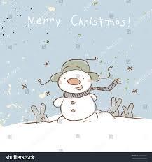 christmas snowman merry christmas greeting card stock vector