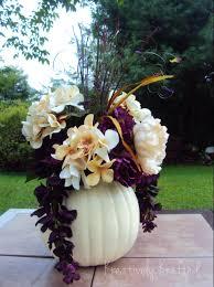 Fall Centerpieces With Feathers by White Cream Pumpkin Centerpiece Arrangement Cream Purple Plum