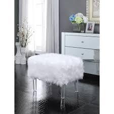 marlene luxe faux fur acrylic leg ottoman free today 25406027