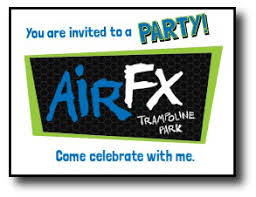 birthday party invitations and thank you notes airfx trampoline park