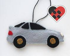 white rx7 fd3s felt car christmas ornament handmade by