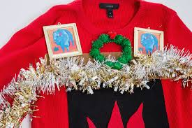 diy ugly holiday sweater fireplace edition buffalo exchange new