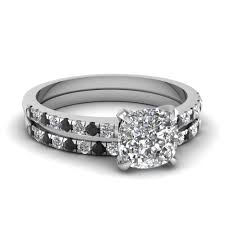 Engagement Wedding Ring Sets by Fresh Black Diamond Engagement Wedding Ring Sets With Petite Pave