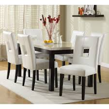 White Leather Kitchen Chairs Dining Room Classic White Upholstered Dining Chair Design