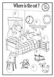 esl worksheets where is the cat