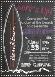 12 surfer beach theme invitation any event any color