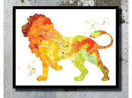 lion print watercolor art print watercolor painting home decor animal