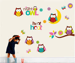 cute owls moontree branch wall art mural decor kids babies material pvc size color multi pattern tree branch owls moon butterfly theme night pack pcs wall decal