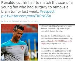 hairstyles for brain surgery patients is cristiano ronaldo s zig zag haircut a tribute to brain surgery